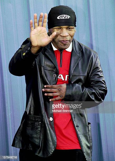 American boxer Mike Tyson outside the Golden Gloves Gym in Las Vegas Nevada 8th January 2000 He is in training for his Jan 29 fight against England's...