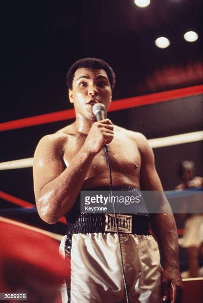 American boxer Muhammad Ali addressing the crowd before his fight with Leon Spinks in New Orleans, in which Ali went on to regain the World...