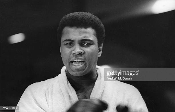 View of American boxer Muhammad Ali at the weighin before his bout with Joe Frazier New York New York March 3 1971