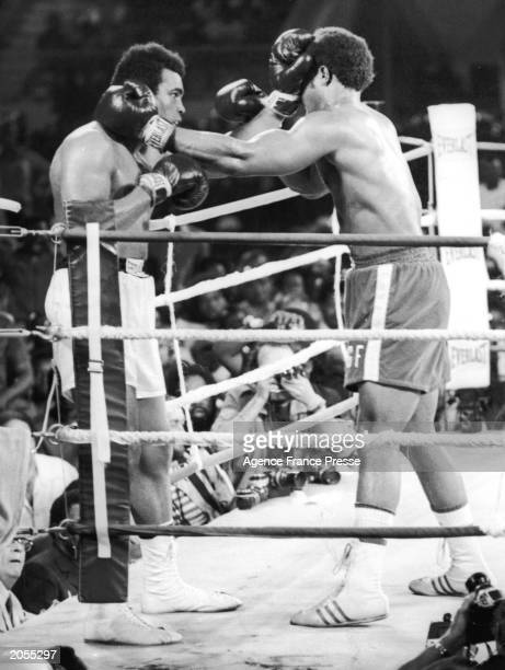 American boxer Muhammad Ali during the 'Rumble In The Jungle' boxing bout with Heavyweight title holder George Foreman in Kinshasa Zaire October 30...