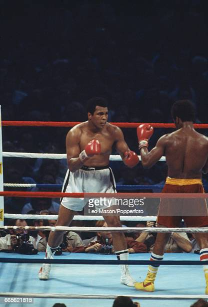 American boxer Muhammad Ali pictured left in white shorts in action against fellow American boxer Leon Spinks in red shorts at the Louisiana...