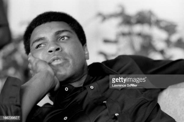 American boxer Muhammad Ali sits in his room at the Hilton Hotel Manila Philippines mid to late September 1975 Ali was in the Philippines for a bout...