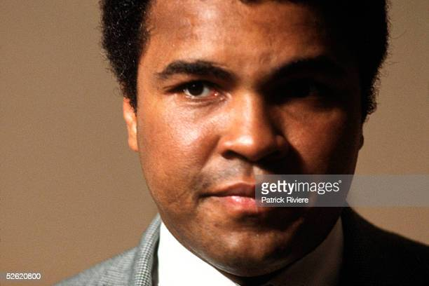 American boxer Muhammad Ali speaks during an interview for a French television program 1978 in Paris France