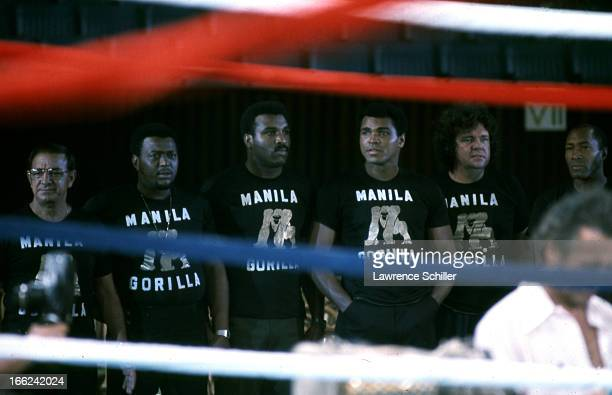 American boxer Muhammad Ali stands with his cornermen and his trainer Angelo Dundee Manila Philippines mid to late September 1975 All wear matching...