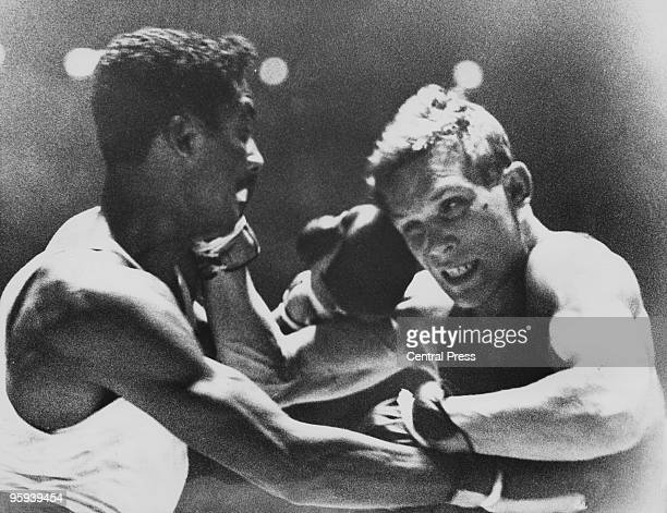 American boxer Wilbert McClure and Carmelo Bossi of Italy during their light middleweight boxing final at the Rome Olympics 6th September 1960...
