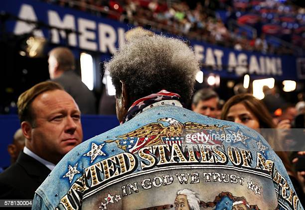 American boxing promoter Don King speaks with radio show host Alex Jones during the third day of the Republican National Convention on July 20 2016...
