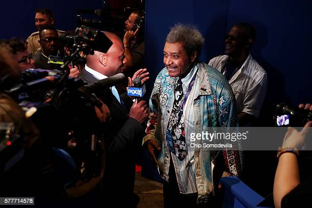 American boxing promoter Don King speaks with the media during the second day of the Republican National Convention on July 19 2016 at the Quicken...