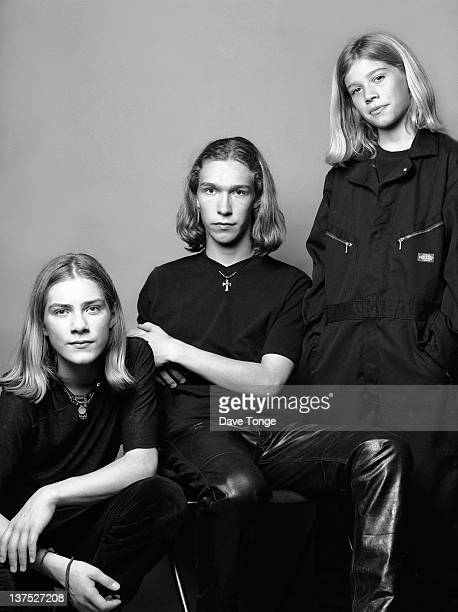 American boy band Hanson at the Hyde Park Hotel London September 1997 Left to right Taylor Hanson Isaac Hanson and Zac Hanson