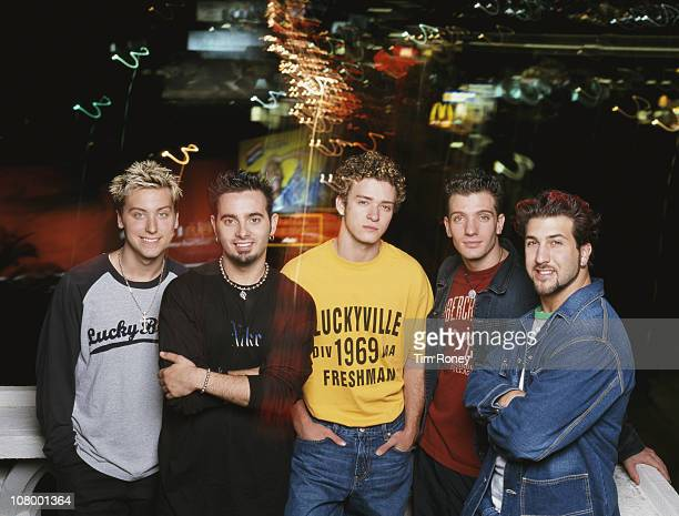 American boy band 'N Sync 2001 Left to right Lance Bass Chris Kirkpatrick Justin Timberlake JC Chasez and Joey Fatone