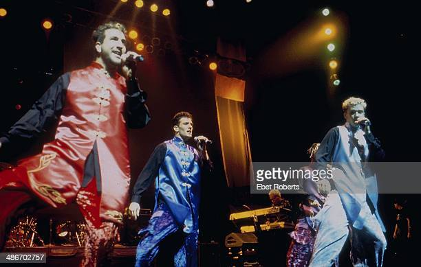American boy band 'N Sync on stage in multicolored jump suits 1998