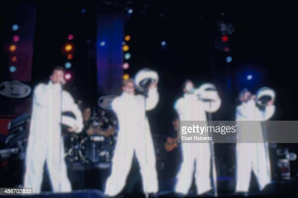 American boy band 'N Sync on stage in white jump suits 1998