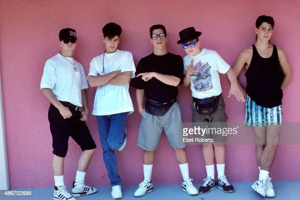 American boy band New Kids on the Block in a posed portrait circa 19891995
