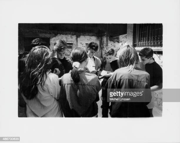 American boy band New Kids on the Block signing autographs for fans circa 19881992