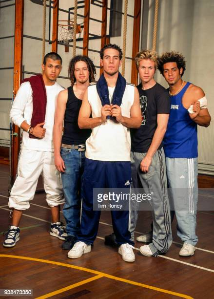 American boy band OTown wearing sports outfit in a gym circa 2001 Dan Miller Jacob Underwood Trevor Penick ErikMichael Estrada Ashley Parker Angel