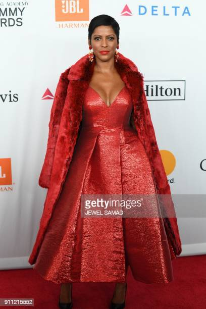 American broadcast journalist and television host Tamran Hall arrives for the traditionnal Clive Davis party on the eve of the 60th Annual Grammy...