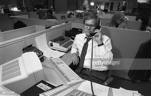 American broadcast journalist and television news anchorman Tom Brokaw prepares for evening broadcast of the NBC Nightly News in the newsroom New...