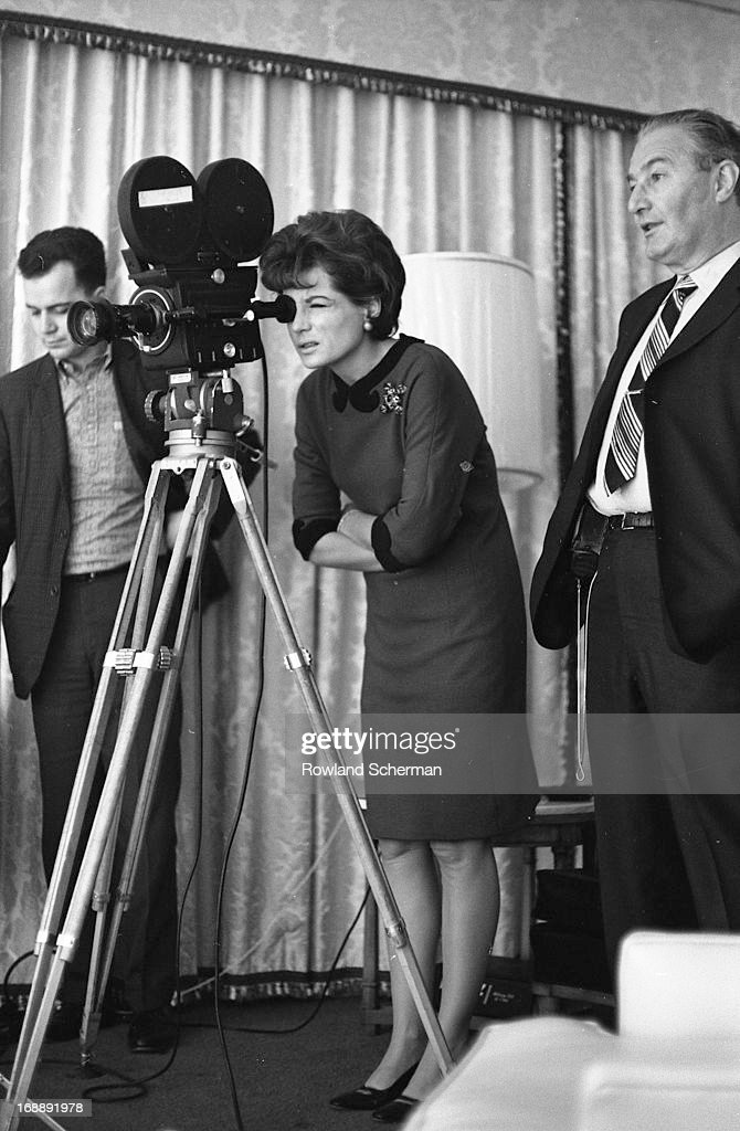American broadcast journalist Barbara Walters as she looks through the lens of a NBC News camera, New York, 1966.