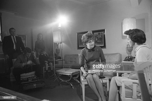American broadcast journalist Barbara Walters conducts an interview, New York, 1966.
