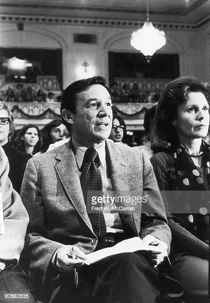 American broadcast journalist Mike Wallace and his wife painter Lorraine Perigord attend an unspecified event New York New York May 10 1974