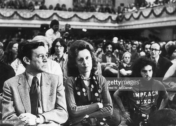 American broadcast journalist Mike Wallace and his wife painter Lorraine Perigord attend an unspecified event New York New York May 10 1974 A...