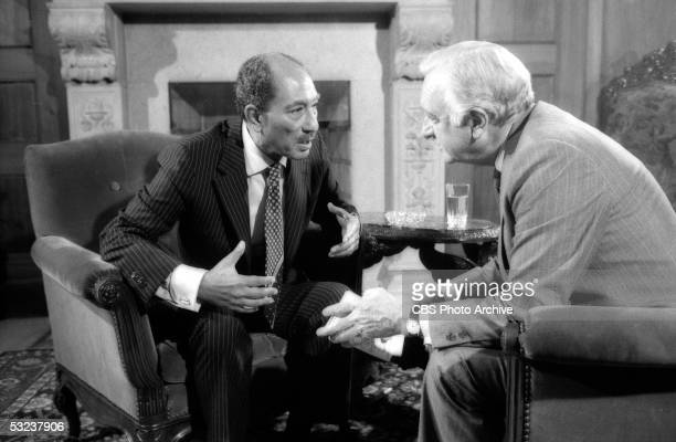 American broadcast journalist Walter Cronkite interviews Egyptian President Anwar Sadat on the 'CBS Evening News With Walter Cronkite' September 19...