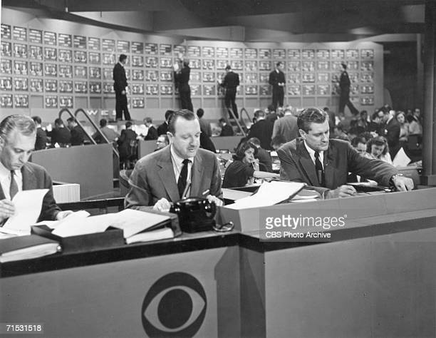 American broadcast journalists Walter Cronkite and Eric Sevareid report on the US Presidential election November 6 1956