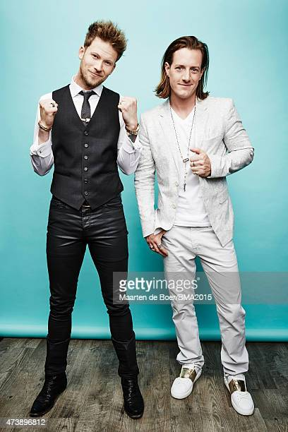 American brocountry duo Florida Georgia Line Tyler Hubbard and Brian Kelley pose for a portrait at the 2015 Billboard Music Awards on May 17 2015 in...