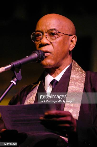 American Buddhist priest and Avantgarde Jazz musician Joseph Jarman delivers the opening invocation at Vision Festival 9 'Vision For A Just World' at...
