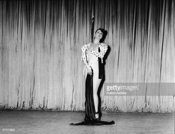 American burlesque performer and author Gypsy Rose Lee performs on stage at the Music Box Theatre New York City 1942