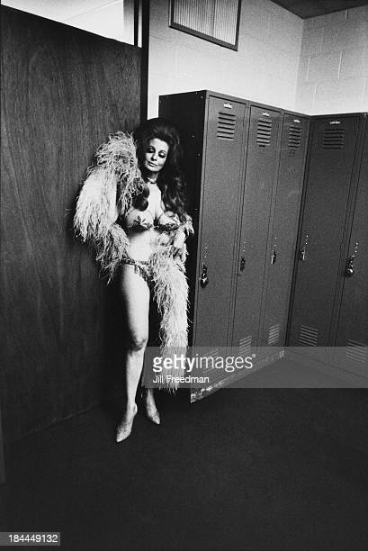 American burlesque star and stripper 'Blaze Star' in a locker room waiting to go on stage at a Long Island college New York 1973