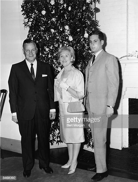 American business executives and beauticians, married couple Joseph Lauder , Estee Lauder and their son Ronald Lauder attand a Pre-Deb Party at the...