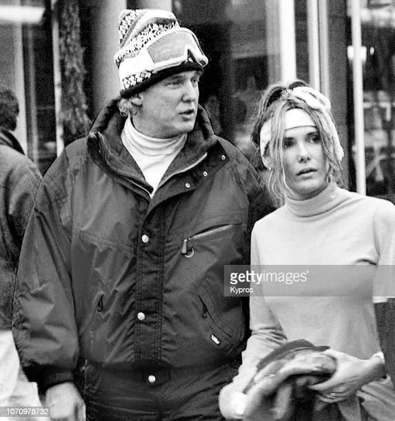 American businessman and 45th and current President of the United States Donald Trump with friend Kelly on a ski holiday in Aspen Colorado US circa...