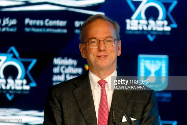 American businessman and Executive Chairman of Google Eric Schmidt gives a speech during the Israeli Innovation Summit in Jerusalem on October 24 2018