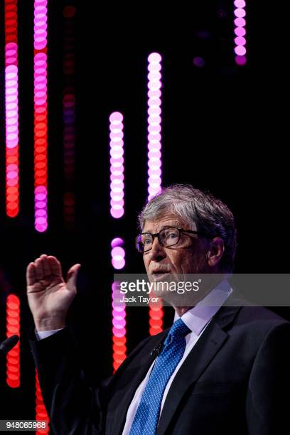 American businessman and philanthropist Bill Gates makes a speech at the Malaria Summit at 8 Northumberland Avenue on April 18 2018 in London England...