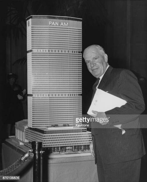 American businessman and politician Luther Hartwell Hodges with a model of the Pan Am Building at the Waldorf Astoria in New York City circa 1960