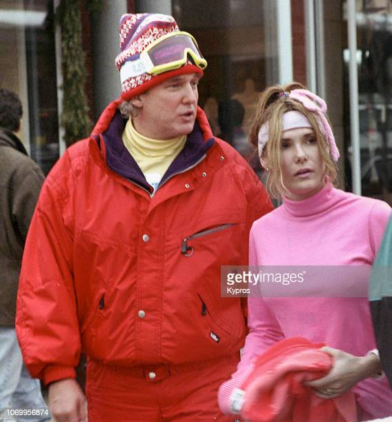 American businessman and television personality Donald Trump and model Kelly Ann Sabatasso in Aspen Colorado circa December 1992