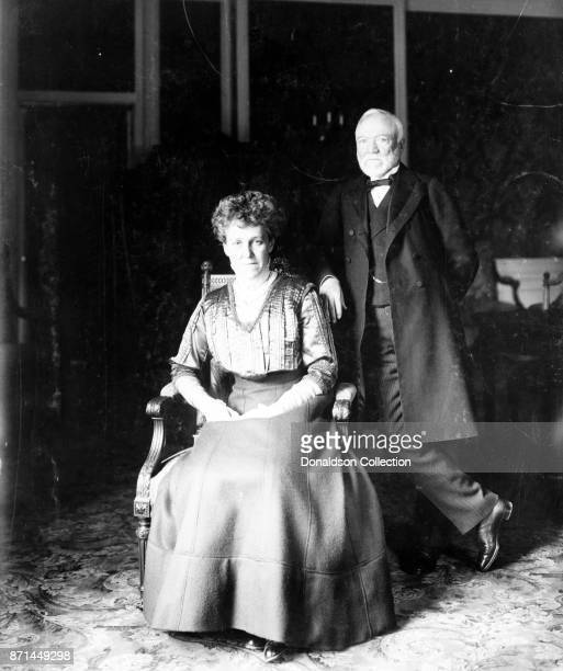 American businessman Andrew Carnegie poses for a portrait with his wife in 1908