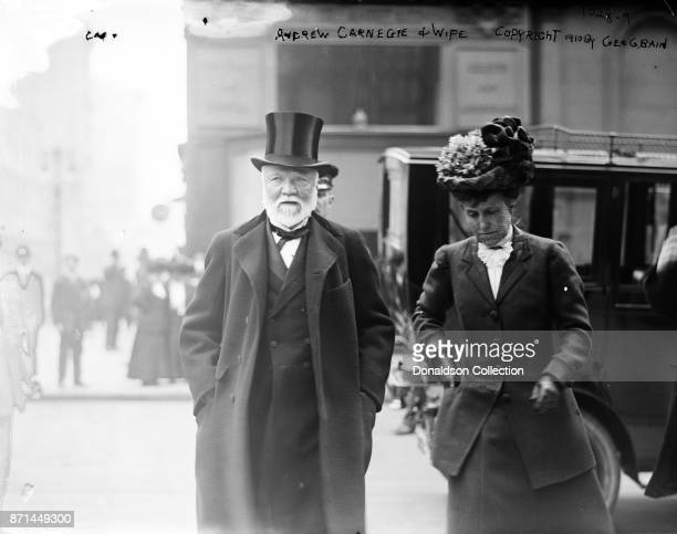 American businessman Andrew Carnegie poses for a portrait with his wife in 1910