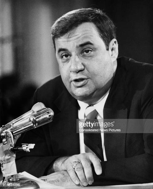 American businessman Bert Lance Director of the Office of Management and Budget testifies before the Senate Affairs Committee about his dealings as...