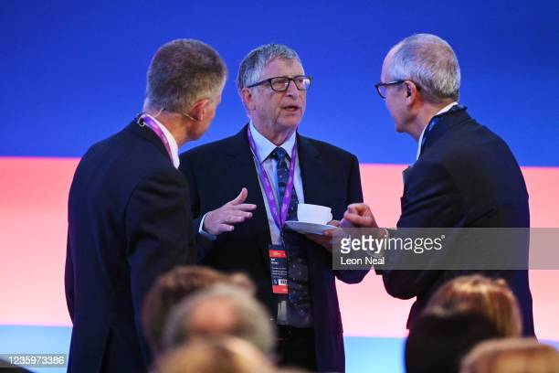American Businessman Bill Gates chats with Sir Patrick Vallance prior to the Global Investment Summit at the Science Museum on October 19, 2021 in...