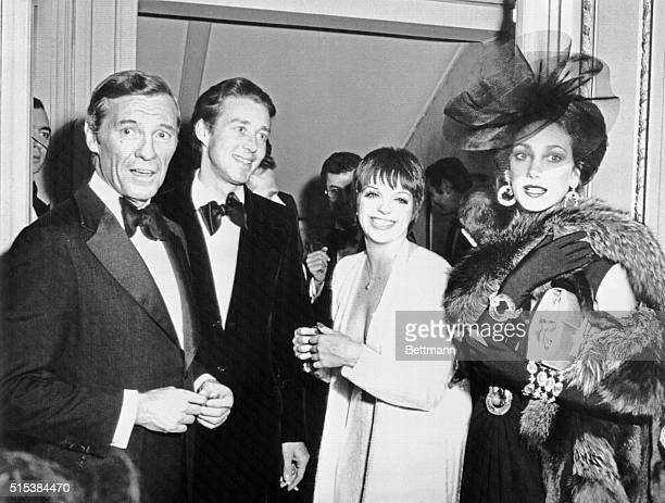 American businessman David J Mahoney American fashion designer Halston entertainer Liza Minelli and actress Marisa Berenson during the private party...