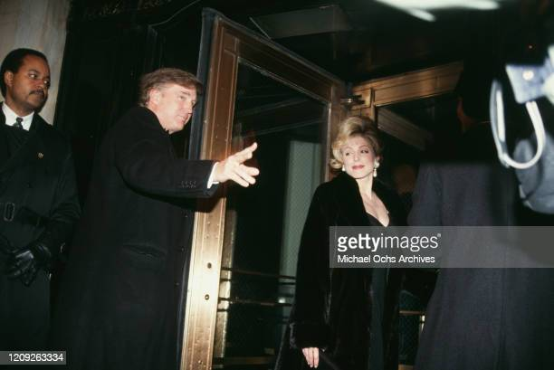 American businessman Donald Trump and American actress Marla Maples attend the Eddie Murphy-Nicole Mitchell Wedding Reception at the Plaza Hotel in...