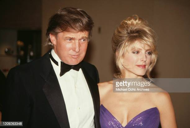 American businessman Donald Trump and American actress Marla Maples attend the 1992 Soap Opera Digest Awards held at the Beverly Hilton Hotel in...