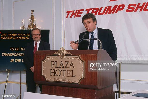 American businessman Donald Trump at a press conference at the Plaza Hotel in New York City to mark the launch of his Trump Shuttle airline 8th June...