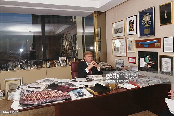 American businessman Donald Trump in his office in Trump Tower Fifth Avenue New York 1999