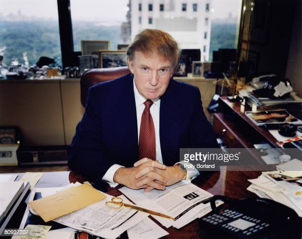 American businessman Donald Trump poses for a portrait in his New York office 9th January 2001