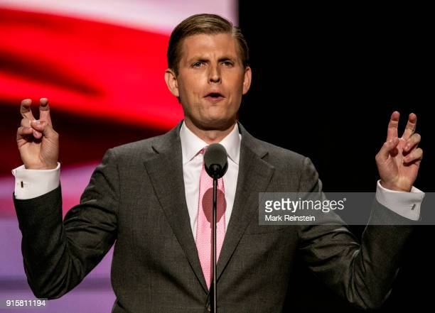 American businessman Eric Trump addresses the Republican National Convention at the Quicken Loans Arena Cleveland Ohio July 20 2016