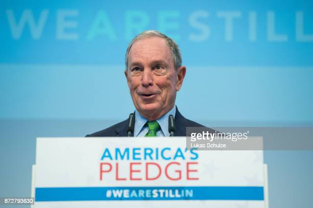 American businessman Michael Bloomberg talks at a discussion at the America's Pledge launch event at the US We Are Still In pavilion at the COP 23...