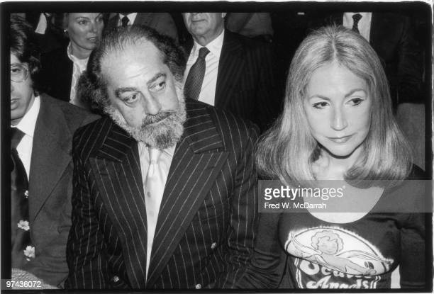 American businessman Robert C Scull and his wife Ethel Scull at the Sotheby ParkeBernet auction of their collection of Pop art works New York New...