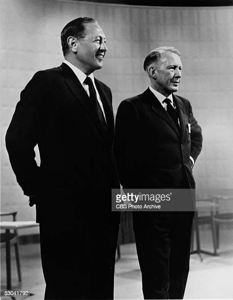American businessmen and television executives CBS Chairman William S Paley and CBS President Dr Frank Stanton stand on set of the KennedyNixon...
